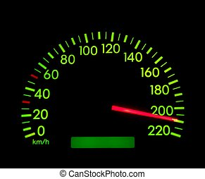 Speedometer of a car showing 210, glowing in the dark