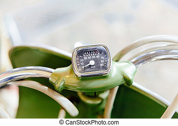 Speedometer of vintage classic car auto