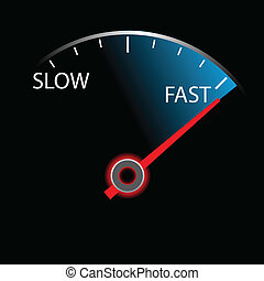 Speedometer on black background (vector) - Speedometer on ...