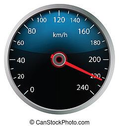 Speedometer on white background (vector) - Speedometer on...