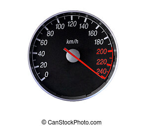 Speedometer over the limit - Speedometer isolated on white,...