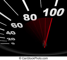 A speedometer with red needle pointing to 100 miles per hour