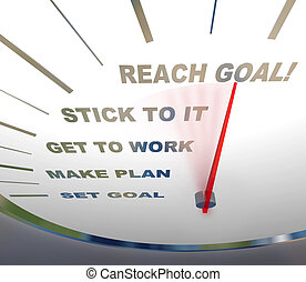 A speedometer with red needle pointing to Reach Goal, encouraging people to get motivated