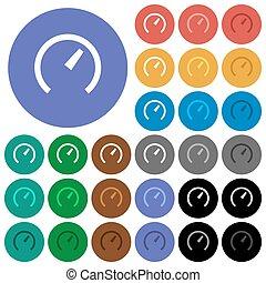 Speedometer round flat multi colored icons - Speedometer ...