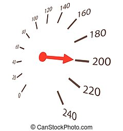 Speedometer scale icon, cartoon style