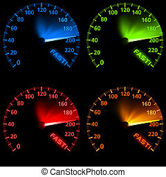 Speedometer Set - Colored Illustration, Vector