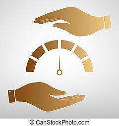 Speedometer sign Golden Effect.