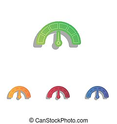 Speedometer sign illustration. Colorfull applique icons set.
