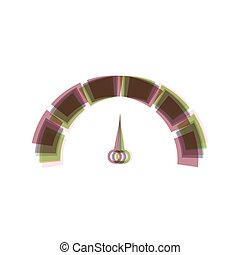 Speedometer sign illustration. Vector. Colorful icon shaked with vertical axis at white background. Isolated.