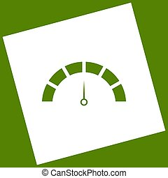 Speedometer sign illustration. Vector. White icon obtained as a result of subtraction rotated square and path. Avocado background.