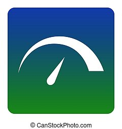 Speedometer sign illustration. Vector. White icon at green-blue gradient square with rounded corners on white background. Isolated.