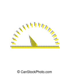 Speedometer sign illustration. Vector. Yellow icon with square p