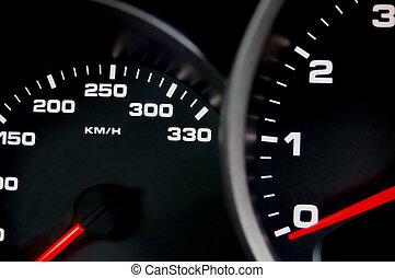 Speedometer - Sportscar dashboard closeup with backlit ...