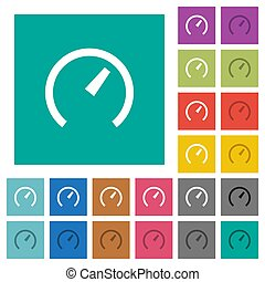 Speedometer square flat multi colored icons