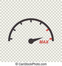 Speedometer, tachometer flat icon