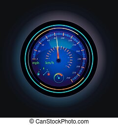 Speedometer with arrow that showing speed of car or vehicle, truck in mph or km h, km hr. Dashboard with fuel measurement, round gauge for showing internet downloading speed. Car equipment theme