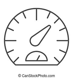 Speedometer thin line icon. Tachometer vector illustration isolated on white. Car dashboard outline style design, designed for web and app. Eps 10.