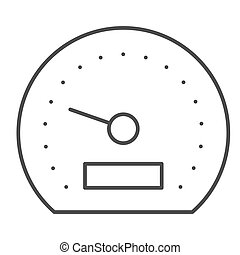 Speedometer thin line icon. Tachometer vector illustration isolated on white. Car panel outline style design, designed for web and app. Eps 10.