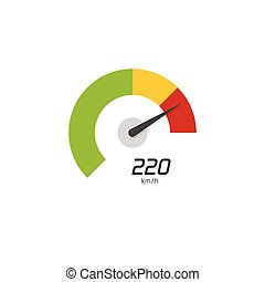 Speedometer vector icon isolated on white background