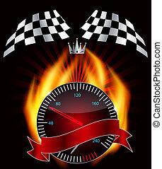 speedometer., vetorial, illustration., bandeira checkered