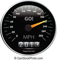 speedometer with 2013 counter in vector on white background