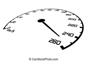 Speedometer with an arrow which goes on a maximum of speed