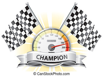 Speedometer with Flags and Ribbons - Concept - Winner, ...