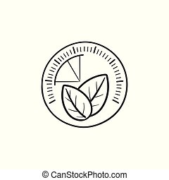Speedometer with leaf hand drawn outline doodle icon. Green ...