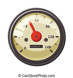 Speedometer with red arrow icon, cartoon style