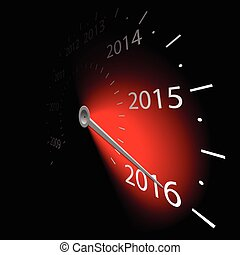 Speedometer with the date New Year 2016. Vector...