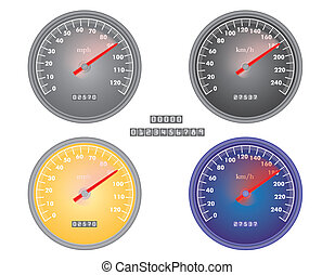 speedometers - set of mph and kph speedometers vector...
