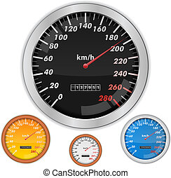 Speedometers - Vector speedometers on white background