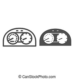 Speedometr line and glyph icon. Car dashboard vector illustration isolated on white. Dial outline style design, designed for web and app. Eps 10.