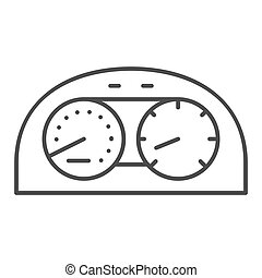 Speedometr thin line icon. Car dashboard vector illustration isolated on white. Dial outline style design, designed for web and app. Eps 10.