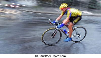 Speedy bicyclist in motion, illustration blur background