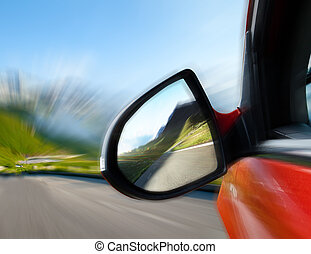 Speedy car - Car mirror, concept of speed