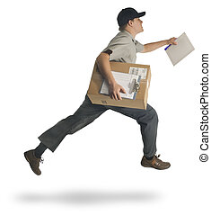 Speedy Delivery - Delivery man running with a parcel and a...