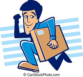 Speedy Delivery - Messenger man running with a large package