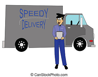 speedy delivery truck with driver