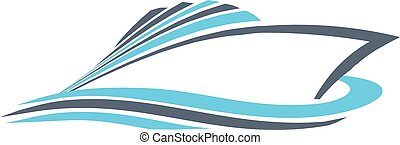 Speedy power boat logo. Vector graphic design