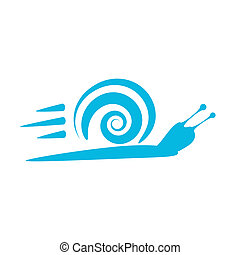 Speedy snail - concept of aspiration to success on white background