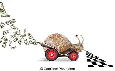 Speedy snail like car racer. Concept of speed and success. ...