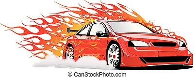 Speedy Sport Car on Fire