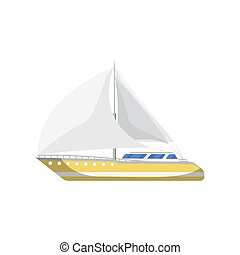 Speedy yacht side view isolated icon