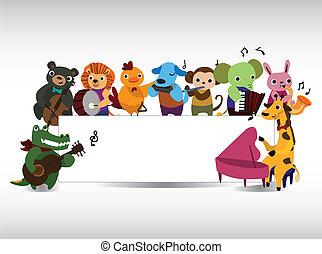 speel muziek, dier, kaart
