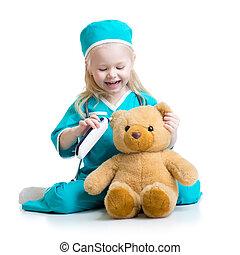 speelbal, arts, spelend, kind, meisje, pluche