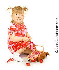 speelbal, baby, mand, kleine, het glimlachen, jurkje, rood