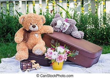 speelbal, beren, zittende , op, koffer