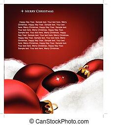 speelbal, card., groet, kerstmis, wol, kerstmis, katoen