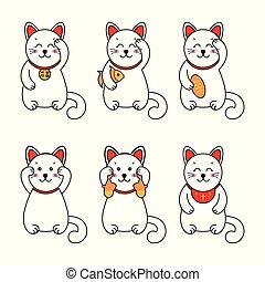 speelbal, chinees, symbool, japanner, souvenir, aziaat, kat, maneki., geluk